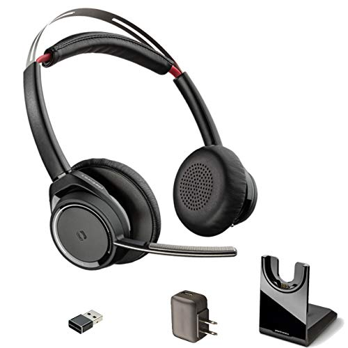 GTW Bundle Plantronics Voyager Focus UC Bluetooth Headphones - MS 202652-02-B, Compatible with Teams, Zooms, Meet, Streaming Music, Smartphones, PC, MAC, Tablet, Dongle, Bonus Charger
