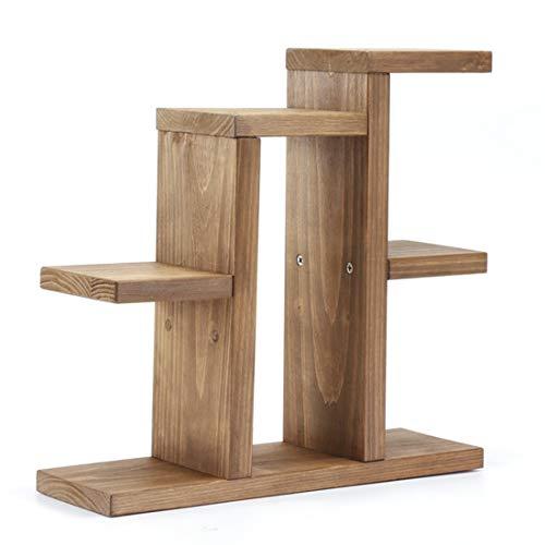 Estante para libros Estilo pastoral Mini Hecho a mano Planta de madera Maceta Soporte Mesa Plantas suculentas Estante de almacenamiento Estante de marco de maceta de oficina Organizador ( Color : A )