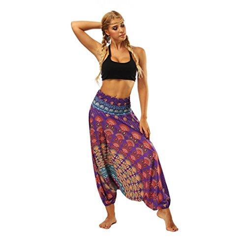 DEELIN Leggings Damen Yoga Fitness beiläufige Sommer-Lose Yoga-Hosen Baggy Boho Aladdin Overall Pluderhosen (Einheitsgröße, Violett)