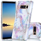 BAISRKE Galaxy Note 8 Case, Shiny Rose Gold White Colorful Marble Design Bumper