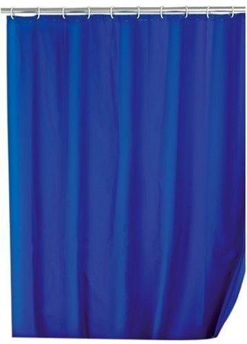 WENKO 19149100 Duschvorhang Uni Night Blue - Anti-Bakteriell, waschbar, mit 12 Duschvorhangringen, 100 % Polyester, Dunkelblau