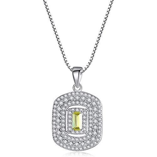 Avkeyu Collar de Plata de Ley S925, Collar Cuadrado geométrico de Moda, con Incrustaciones de Collar de Piedras Preciosas Naturales, Proporciona Mujeres