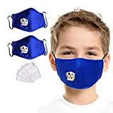 SET OF 2 Face Bandana Cotton with Breathing valve With 4pcs Activated Carbon Replaceable Filters For Kids Children (Blue set)