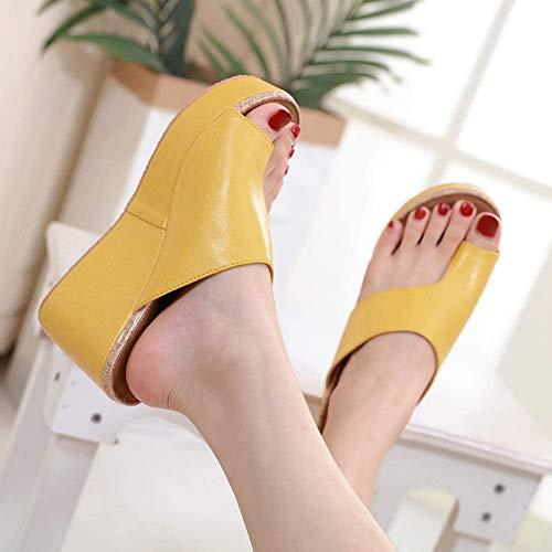 QDY Sandalias de tacón de cuña con Plataforma para Mujer para Verano, Zapatillas ortopédicas para juanetes, Zapatillas Casuales para Mujer, con Punta Abierta, corrección de pies, Playa, ZAPA