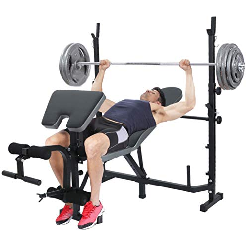 Standard Weight Bench Multifunctional Strength Training Benches, Olympic Barbell Weight Bench Dumbbell Weightlifting Bench With Preacher Curl Leg Developer and Crunch Handle