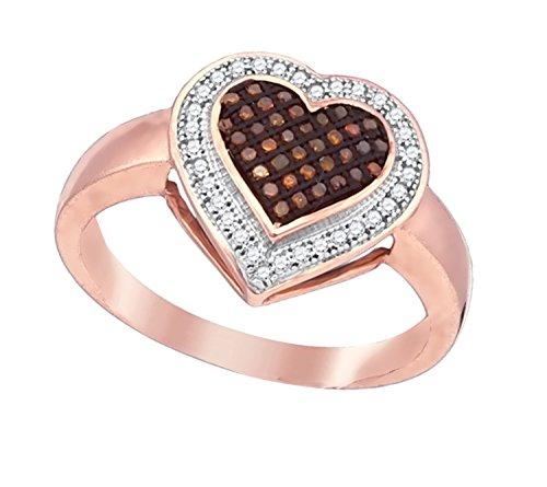 Brandy Diamond Dark Chocolate Brown 10k Rose Gold Halo Heart Fine Design Ring 1/5 Ctw.