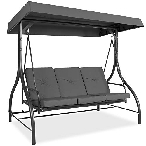 Best Choice Products 3-Seat Outdoor Large Converting Canopy Swing Glider, Patio Hammock Lounge Chair for Porch, Backyard w/Flatbed, Adjustable Shade, Removable Cushions - Gray