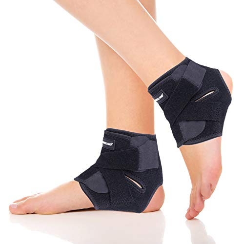 Dr.Welland Ankle Brace(Pair), Ankle Support for Sprains, Plantar Fasciitis,Tendonitis, Active Ankle Stability, Prevent Re-Injury, Compression Ankle Stabilizer Adjustable Wrap, Athletic Protection