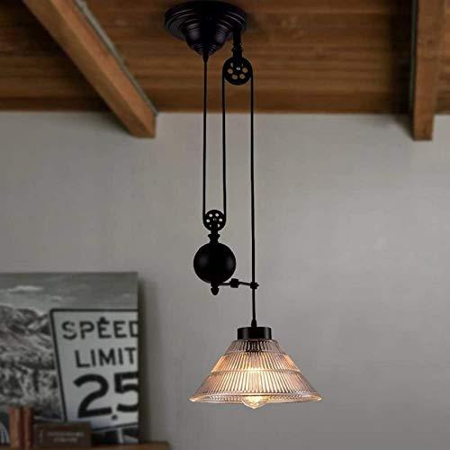 Candelabros de polea vintage, luces de techo industriales retráctiles, iluminación de elevación y caída de polea antigua para cocina, isla, comedor, loft, pasillo con pantalla de vidrio (tamaño: 1 luz
