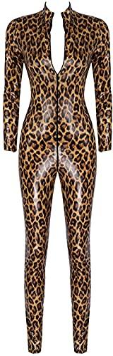 WANJIA Womens Leopard Print Cuero Cuerpo Completo Cuello Alto Manga Larga Catsuit-marrón_SG