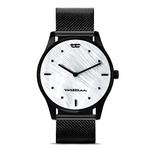 VOLTTIER Reloj para Mujer de Cuarzo en Negro con Esfera Nácar y Correa de Malla en Acero Inoxidable