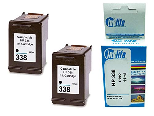 Cartucho reconstruido Inklife compatible con HP 338 negro, para HP DeskJet 460, 460C, 460CB, 460WBT, 460WF, 5740 (paquete de 2)
