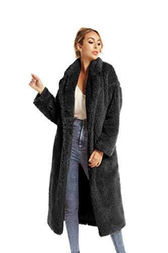 Women Faux Fur Winter Coats Comfort Warm Outerwear Open Front Long Cardigan Overcoat Jacket (Light Tan, L)