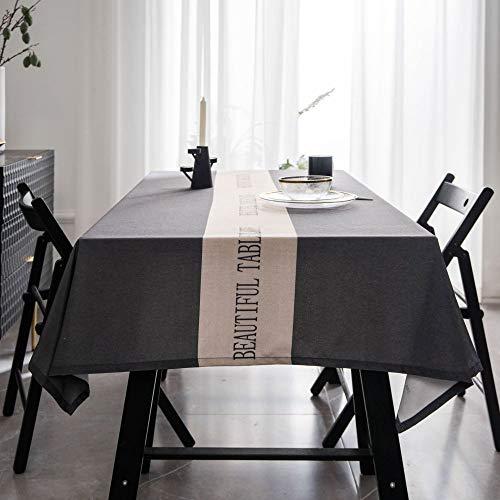 ShiyueNB waterdicht tafelkleed eenvoudig modern net tafelkleed eenkleurig licht doek salontafel doek 135 * 300 Grijze middenletter zonder punt