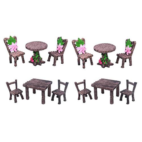 Cabilock 4 Juegos de Muebles de Jardín de Hadas Adornos de Mesa Y Sillas en Miniatura Adorno de Artesanía de Bonsai para Accesorios de Casa de Muñecas Decoración de Micro Paisaje
