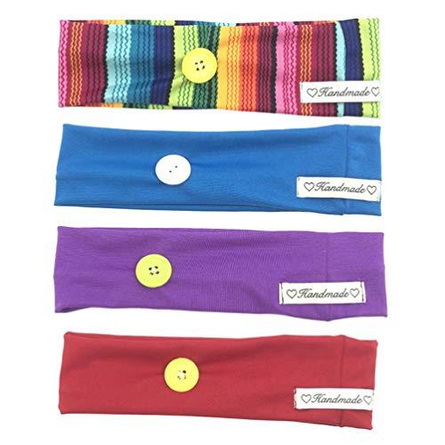 PRETYZOOM 4Pcs Diadema con Botones para Cubrir La Cara Turbante Headwrap con Botón Bandas Elásticas para El Cabello Headwear Pañuelo Protector de Oreja para Enfermeras Mujeres