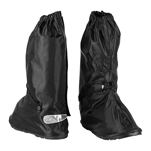 Waterproof Boot Covers size Men 6-6.5 Women 7-8 with for Cycling Bike Motorcycle Riding with Sturdy Zipper Elastic Bands Reflective Heels - Black
