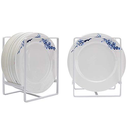GAOZHEN Plate Holders Organizer for Kitchen Metal Dish Storage Dying Display Rack for Cabinet, Counter, 2 Pack (White,Large)