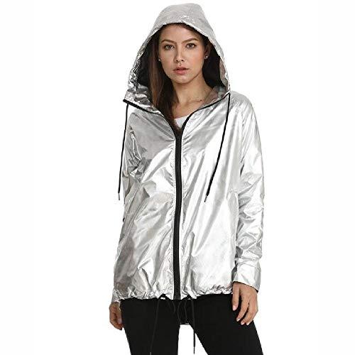 nobrand Metallic Farbe Bomberjacke Zip Up wasserdichte Jacken 2020 Neue Damenjacken Damen Oberbekleidung Kapuzenfedermantel