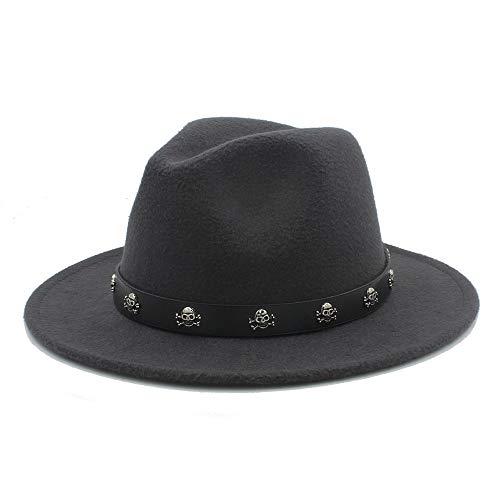 Duyani Hombres Mujeres Sombrero Fedora con Calavera Remache Sombrero de Panamá Sombrero de Jazz de ala Ancha Pop Sombrero de fascinador de Iglesia Tamaño 56-58 cm (Color : Dark Gray, Size : 56-58)