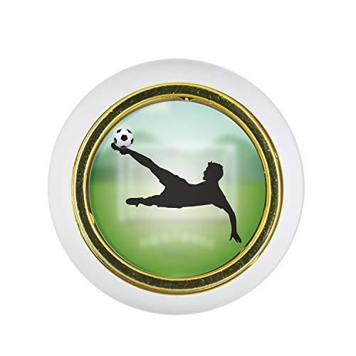 Möbelknopf Kunststoff Klein & Elegant KST03500W Weiss Sport Fußball Soccer Motiv - Kleine Universal Möbelknöpfe für Schrank, Schublade, Kommode, Tür, Küche, Bad, Haushalt Kinder Kinderzimmer