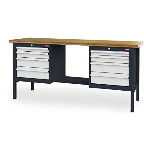 STIER Kastenwerkbank, 8 Schubladen, Stahl Werkbank mit 2 Gehäusen, Tragkraft 80 kg je Schublade, 100% Vollauszug, Profi-Qualität, Werkstattschrank