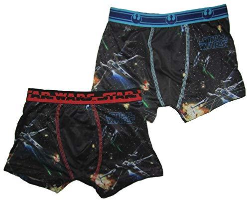STAR_WARS Unterhosen Set 2 Stück Kinder Boxershorts X-Wing Tie-Fighter Weltraum (110-116, schwarz)