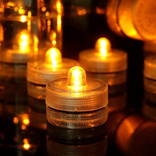 HL 24pack Gelb Wasserdichte Runde Mini LED Teelichter Unterwasserleuchten f¨¹r Hochzeit Home Party Vase Festival Valentinstag Dekoration