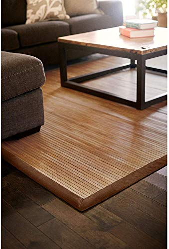 DE-COmmerce Bambusteppich Classic 200x250cm 17mm Stege breite Bordüre massives Bambus Bordürenteppich nachhaltig und ökologisch