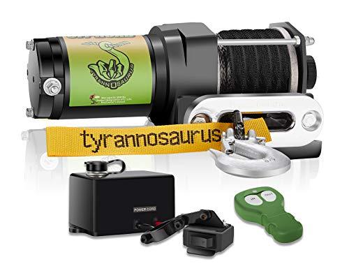 Tyrannosaurus 3000-lb Synthetic Rope ATV UTV Winch Kit, Wireless Remote Mini Rocker with Mounting Plate