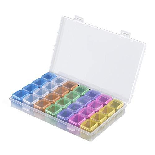 FTVOGUE 28 Grilles Plastique Coloré Boîte Indépendantes de Stockage Vide Nail Art Strass Bijoux Perles Présentoir Organiser