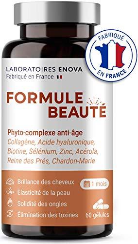 FORMULE BEAUTE | Complément Alimentaire Cheveux Peau & Ongles | Collagene Marin, Acide Hyaluronique, Biotine, Zinc, Selenium | 60 Gelules | Fabrique En France