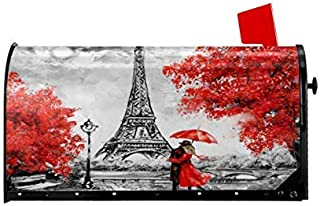 Delerain Eiffel Tower Mailbox Cover, Magnetic Mailbox Wraps Letter Post Box Home Garden Outdoor Decorative for Large Size 25.5