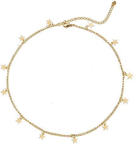 Long tiantian Gold Star Choker Necklace for Women Cute Necklace for Teen Girls Trendy Star Necklace product image