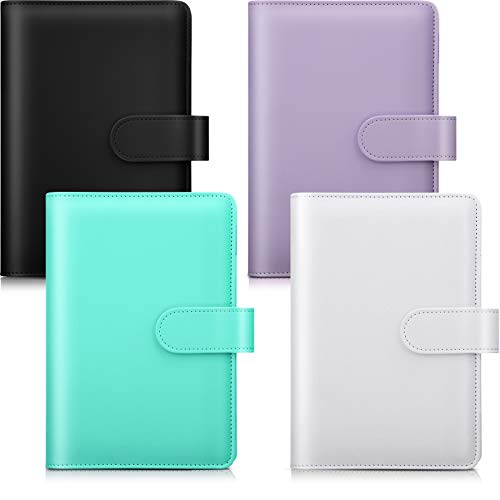 4 Pieces A6 PU Artificial Leather Notebook Binder Cover Refillable 6 Holes Binder for A6 Filler Paper Loose Leaf Personal Organizer Binder with Magnetic Buckle (Black, Purple, Turquoise, White)