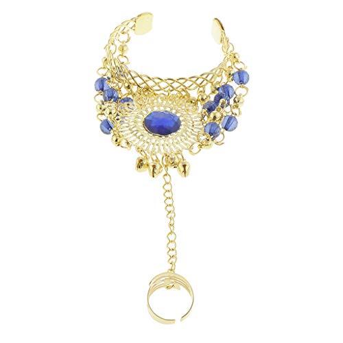 FLAMEER 1 Stück Bauchtanz Armband mit Ring Geeignet für Indien Bauchtanzshow, Halloween und andere Partys - Blau