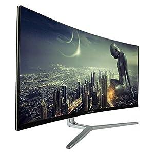 "LC-Power LC-M34-UWQHD-100-C Gaming Monitor 34"" curved Ultra WQHD Display 16:9, 4ms,VA, 1*HDMI, DP,DVI,AUX, 100Hz schwarz weiß"