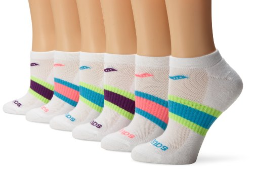 Saucony Women's 6-Pack Performance No Show Socks, White Assorted, Shoe Size: 5-10, sock size 9-11