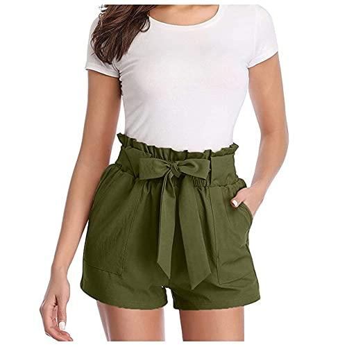 Casual Ate Frontal Frontal Ruffled Papel Bolsa Pantalones Cortos Color de Verano