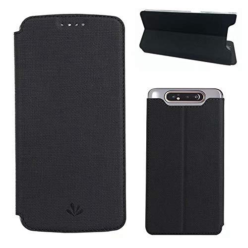 Happy-L Caso Samsung Galaxy A80 A90, Funda de Cuero Delgada de la PU Delgada, Cierre magnético Bookstyle Folio Funda con Estuche de Billetera Kickstand (Color : Black)