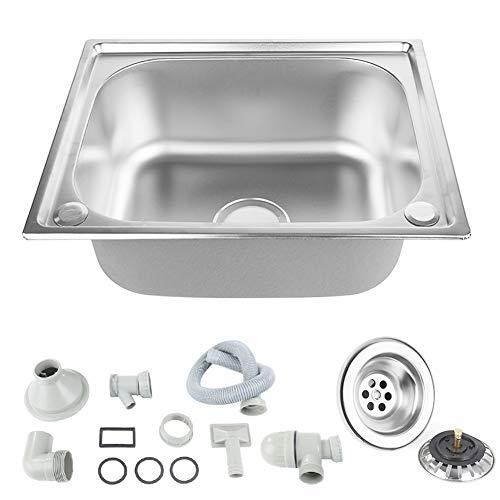 Lavello da Cucina, Lavello da Cucina in Acciaio Inossidabile, Lavandino Tondo Quadrato, Lavabo Cucina Incasso (50 x 40 CM)