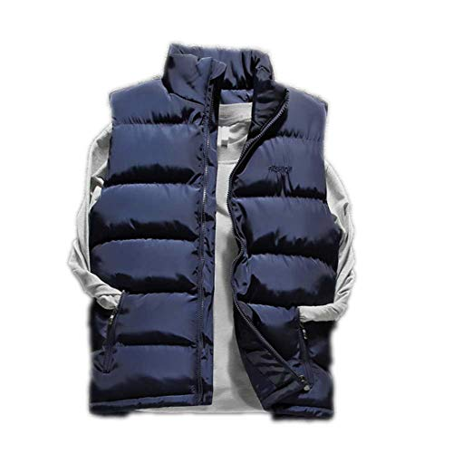 Winter Jacket Down Vest Solid Sleeveless Windproof Warm Waistcoat Slim Thick Blue XXL