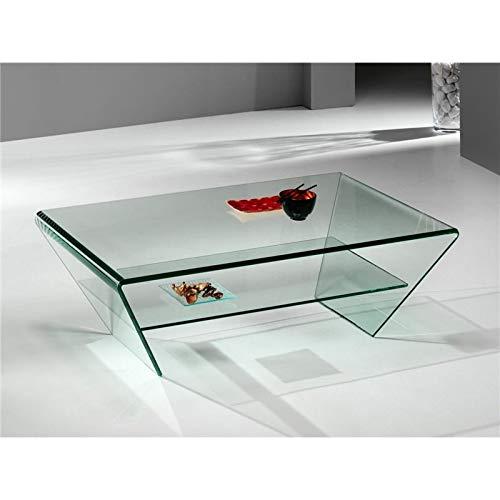Mesa de Centro de Cristal Curvado Kylie 115 cm