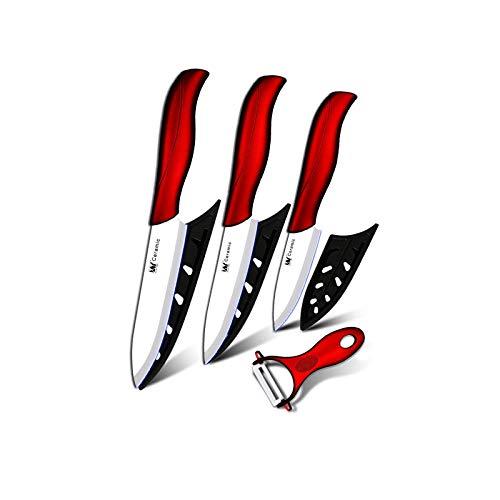 Cocina de cerámica Cuchillo de cocina de 3 pulgadas Pelación de 4 pulgadas Utilidad de 4 pulgadas Cuchillo de corte de 5 pulgadas Blanco + Peeler rojo Cuchillos de cocina Set Herramientas
