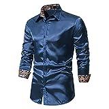 XUEbing Camisa de vestir casual de manga larga elástica para hombre, sin arrugas, ajustada, con botones, ligera, para fiesta de graduación, azul marino, M