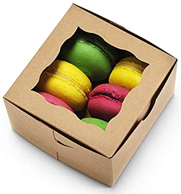 """[50Pack] Bakery Boxes with Window 4x4x2.5"""" Cute Pastry Containers for Cupcakes, Wedding Cake/Baby Shower/Party Favors, Valentine?s Desserts, Cookies"""