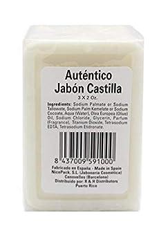 Authentic Castile Soap - Three Bars of 2 Oz Each Pack - Made in Spain  Autentico Jabon Castilla
