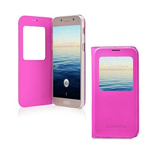 Lincivius Cover Samsung A3 2017, Custodia Samsung Galaxy A3 2017 Portafoglio Flip Case Rosa Slim Case Wallet Protettiva S View Finestra di Visualizzazione - Altri Colori Disponibili -