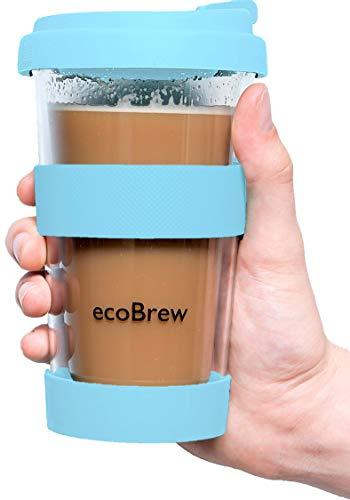Glas Kaffeebecher to Go | Doppelwandig Isolierung Kaffeetasse | 340 ml Travel Mug mit sicherem Silikon Deckel | Coffee Becher für zu Hause, Büro oder Auto | Elektrisch Blau