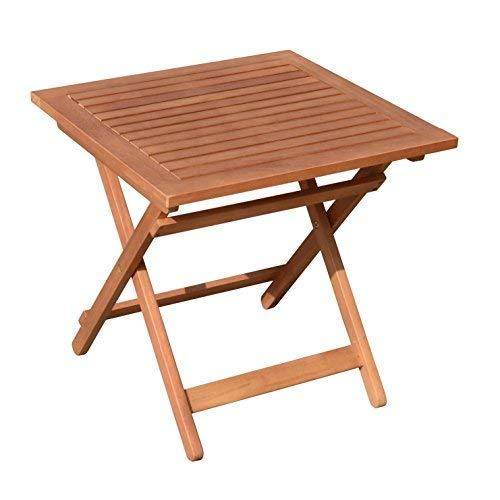 Spetebo Eukalyptus Gartentisch - 50x50 cm - Klapptisch Bistrotisch Biergarten Tisch Holztisch